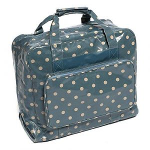 Hobby Gift Crafters Bag in Blue Vinyl with Beige Polka Dots (20 x 43 x37cm)