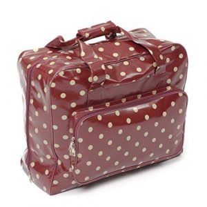 Hobby Gift Crafters Bag in Burgundy Vinyl with Beige Polka Dots ( 20 x 43 x37cm)