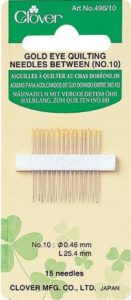 Clover Gold Eye Quilting Needles Betweens: No. 10