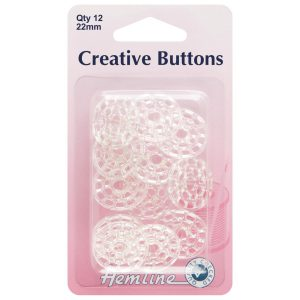 Hemline 22mm Creative Buttons – 12 Pack