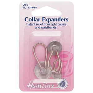 Hemline Assorted Metal Collar Expanders 11mm, 15mm and 19mm