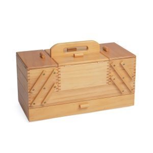 HobbyGift Wooden Sewing Box 4 Tier Cantilever