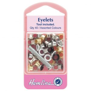 Hemline Assorted Colour Eyelets With Tool 5.5mm