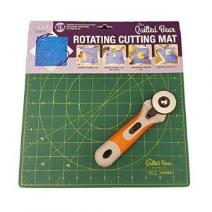 DAFA 360° Rotating Self Healing Cutting Mat 12″ x 12″ Includes a Quilted Bear Rotary Cutter