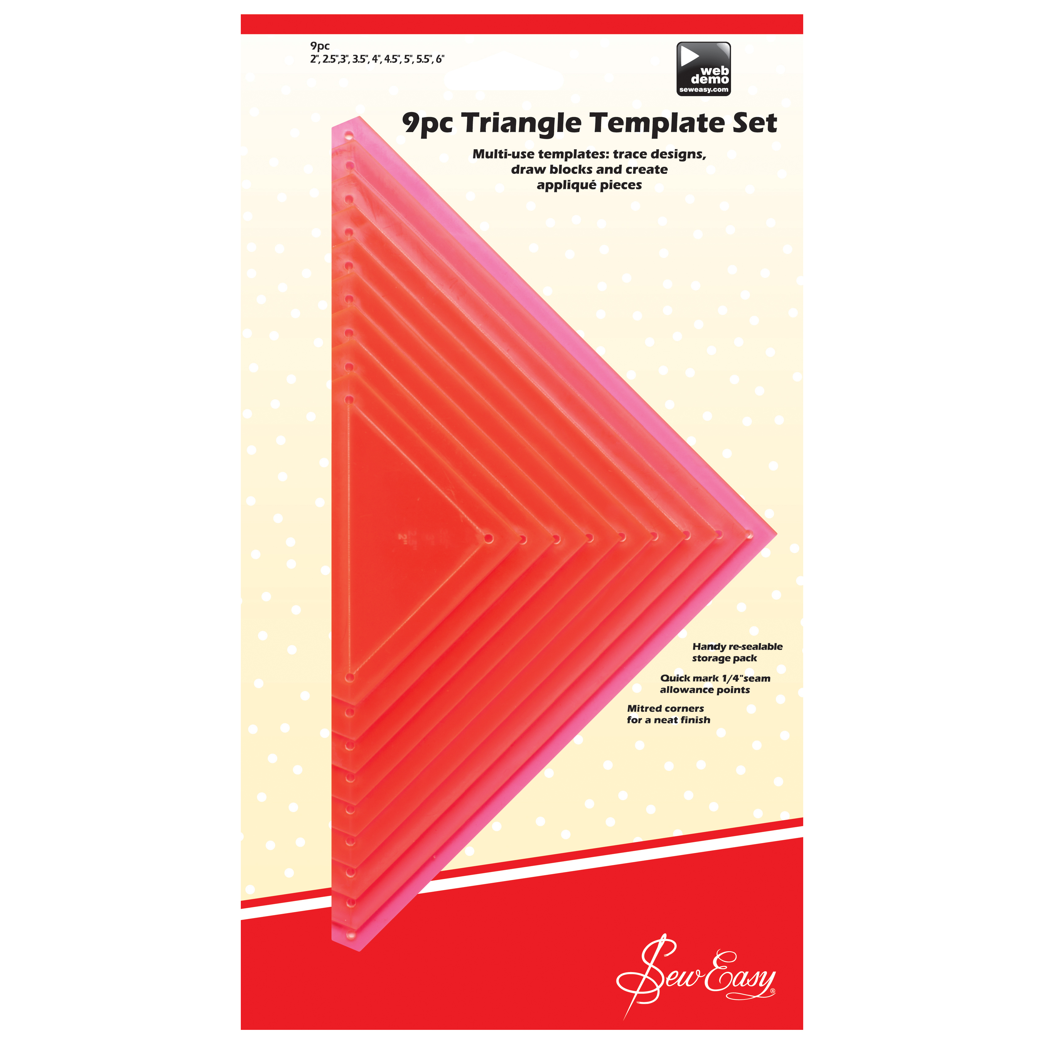 Sew Easy 9 Piece Triangle Template Set Ergg08 Pnk Touchofclass In