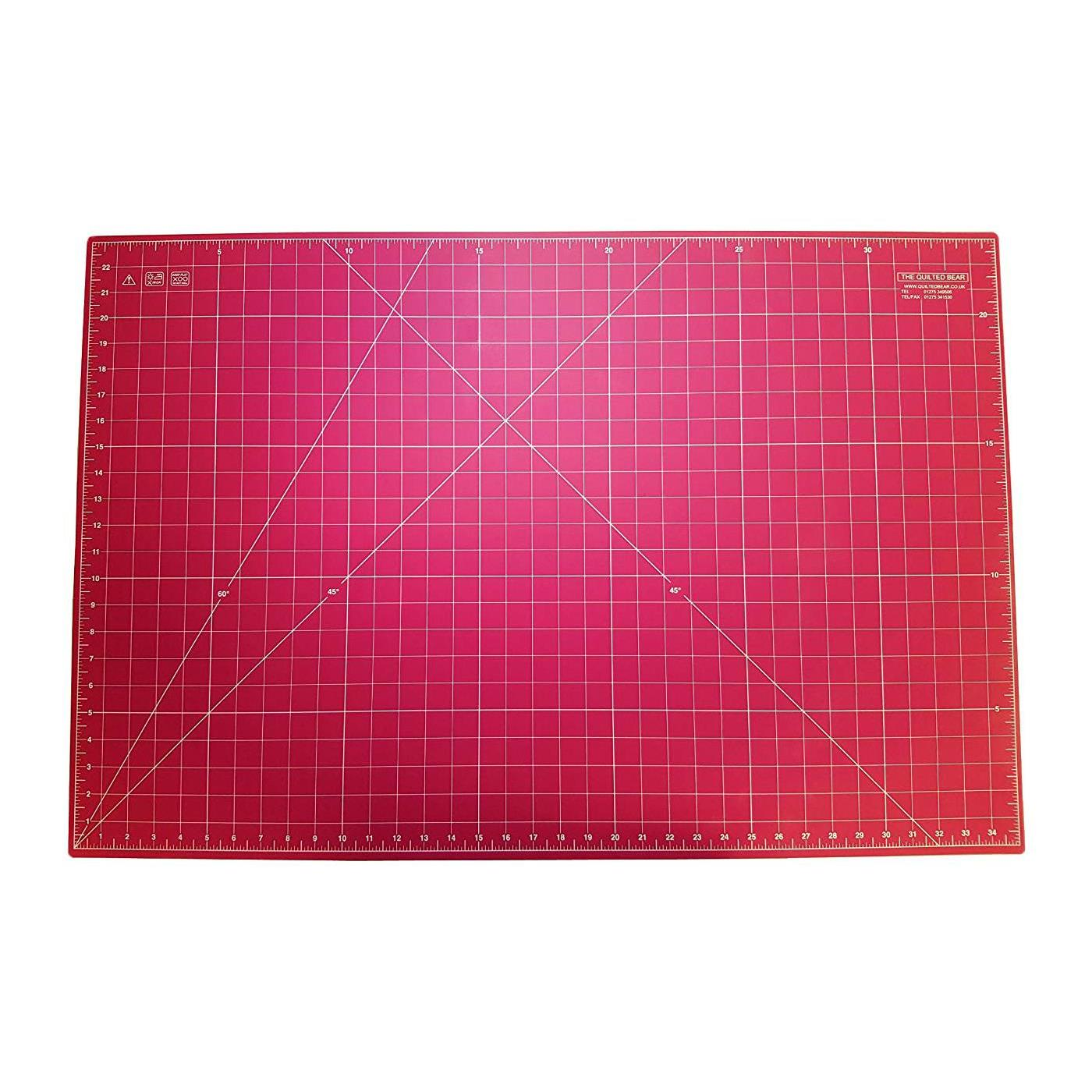 """Quilted Bear Pink Self-Healing Double Sided Quilting Cutting Mat 24"""" x 36"""" (60cm x 90cm)"""