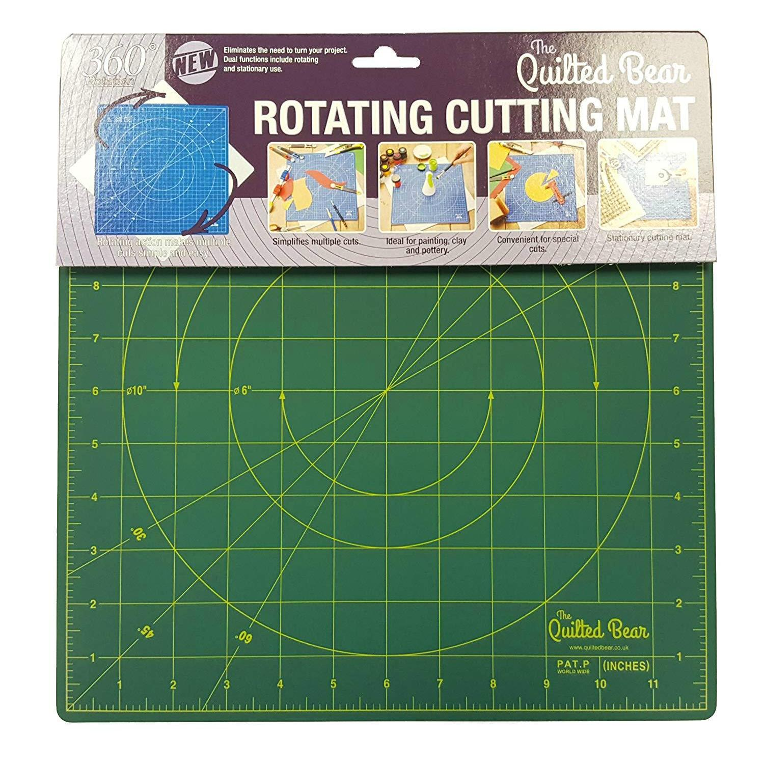 """Quilted Bear Square Rotating Cutting Mat 12"""" x 12"""" Green"""