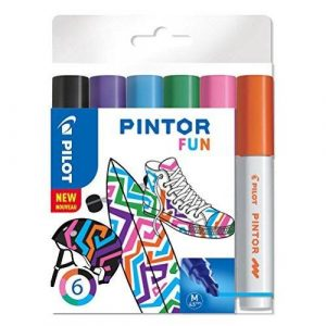 Pilot Pintor Medium Line Bullet Paint Marker 4.5mm Tip- Fun Colours (Wallet of 6)